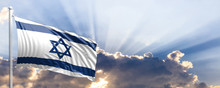 Israel Flag On Blue Sky. 3d Il...
