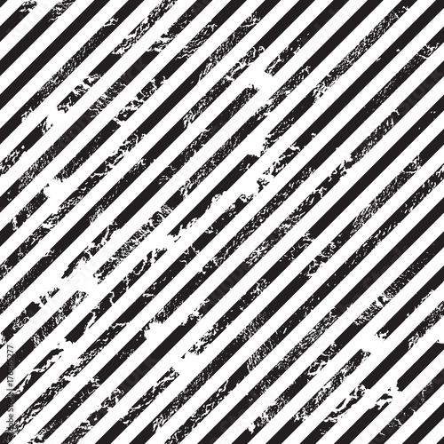 Cotton fabric Black and white diagonal stripe background, grunge design, seamless pattern, vector illustration