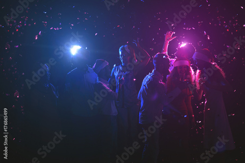 Group of friends at birthday party at night club - 176865499