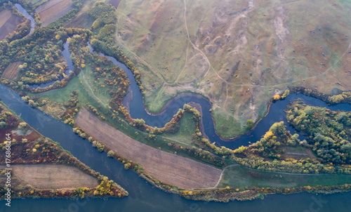 Fototapeta Top view of river and nature in autumn obraz