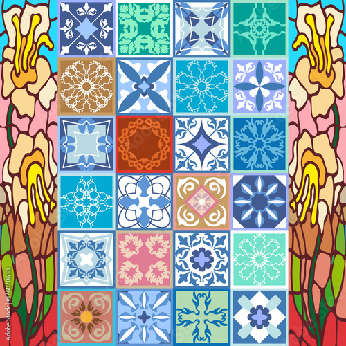 La pose en embrasure Tuiles Marocaines Glazed ceramic mosaic with Moroccan, Spanish, Portuguese motifs.