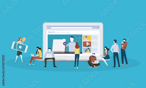 Fotografía  Flat design style web banner for online education, video tutorials, online training and courses