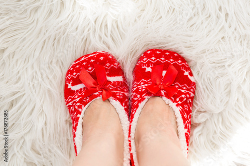 new years christmas slippers for adults are dressed for the women on white soft