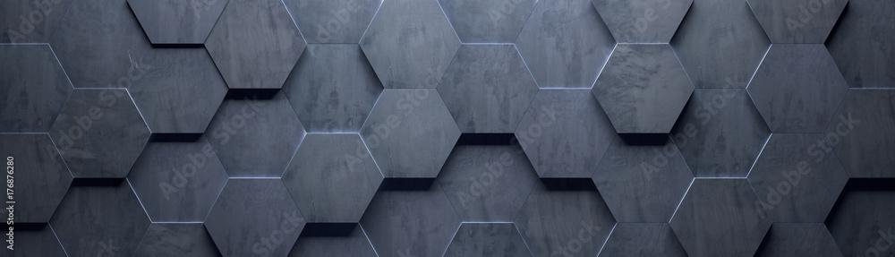 Fototapeta Concrete Wide Hexagon Background (Site head) (3d illustration)