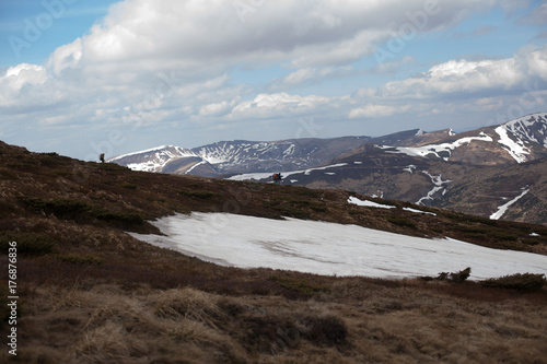 Fotobehang Chocoladebruin Spring mountain landscape. Carpathians, Ukraine, Europe