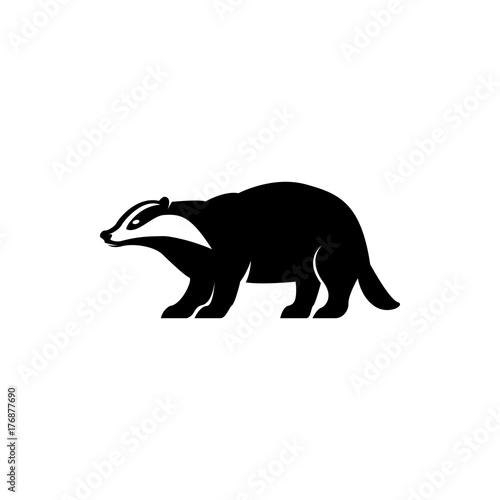 Vector badger silhouette view side for retro logos, emblems, badges, labels template vintage design element Canvas Print