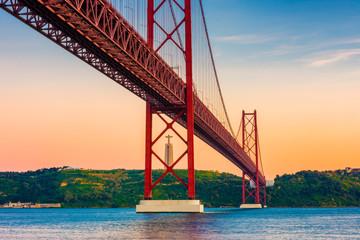 25th of April Bridge Lisbon Portugal at Sunset