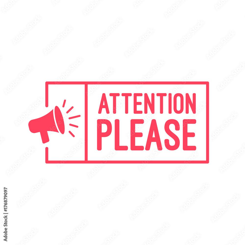 Fototapety, obrazy: Attention Please Megaphone Label