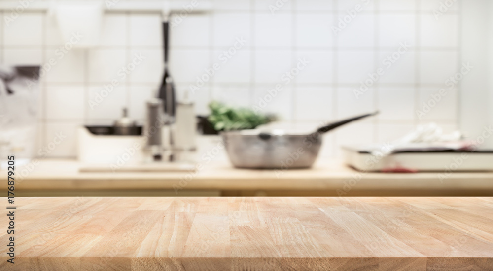 Fototapety, obrazy: Wood table top on blur kitchen room background .For montage product display or  key visual layout.