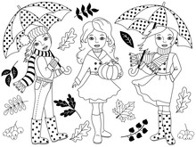 Vector Black And  White Autumn...