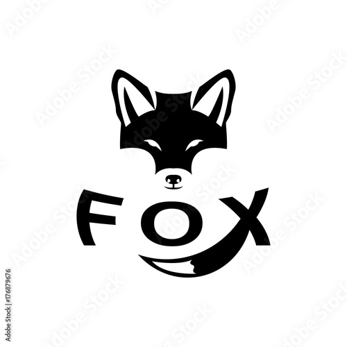 Valokuva Vector fox head, face  for retro hipster logos, emblems, badges, labels template and t-shirt vintage design element