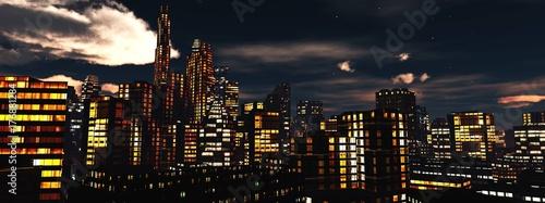 Fototapeta widok nocy miasto, panorama nocy miasto, chmury nad drapaczami chmur, 3d rendering