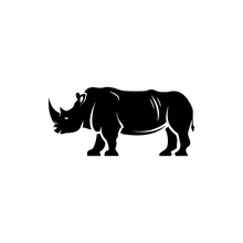 Vector Rhino Silhouette View Side For Retro Logos, Emblems, Badges, Labels Template Vintage Design Element. Isolated On White Background