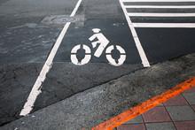 Road Sign For Bike Lane In Bla...