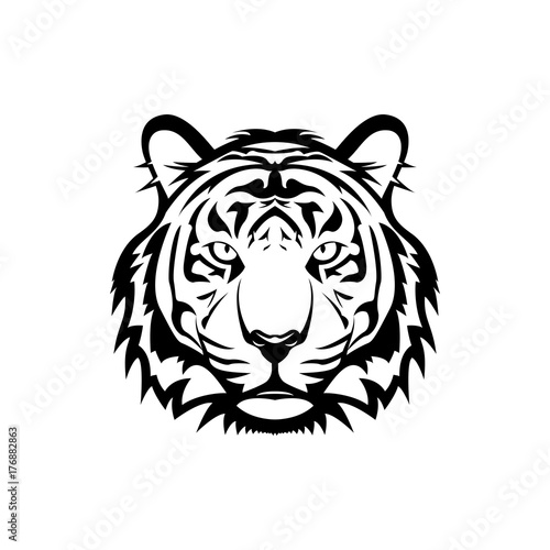 Vector tiger head, face  for retro logos, emblems, badges, labels template and t-shirt vintage design element. Isolated on white background Fotomurales