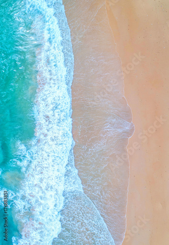 Wall Murals Air photo Sea aerial view,Top view,amazing nature background.The color of the water and beautifully bright.Azure beach with rocky mountains and clear water of Thailand ocean at sunny day.