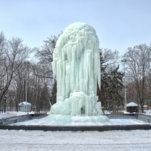 The Frozen Fountain In A Winte...