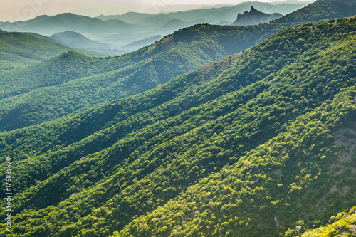 Aluminium Prints Green blue green mountains and hills