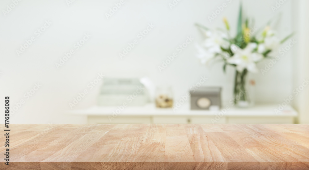 Fototapety, obrazy: Real wood table top texture on white wall room background.For create product display or key visual layout
