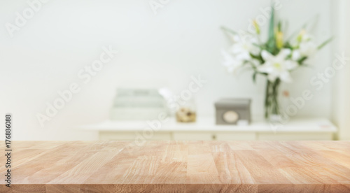 Fotografie, Obraz  Real wood table top texture on white wall room background