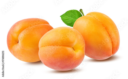 Fotografiet Fresh apricot isolated on white background with clipping path