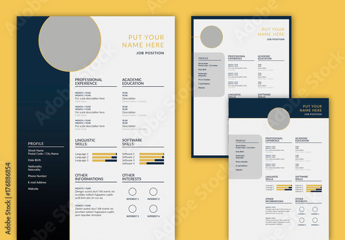 resume layout set with dark blue and gold accents buy this stock