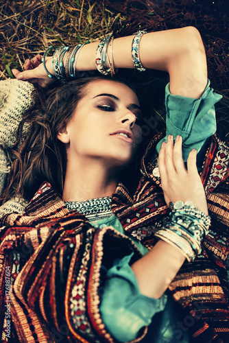 Poster Gypsy attractive hippie girl