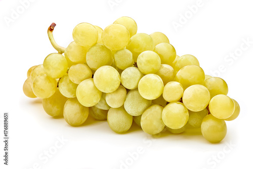 Vászonkép fresh green grapes isolated on white background