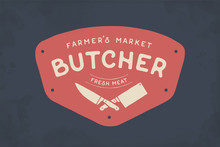 Logo Of Butcher Meat Shop With...