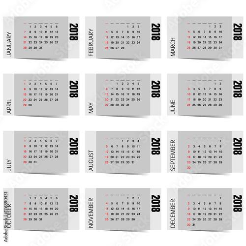 Fényképezés  calendar for 2018 year design illustration