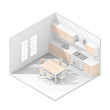 3d isometric rendering kitchen