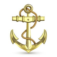 Gold Anchor With Rope Isolated...