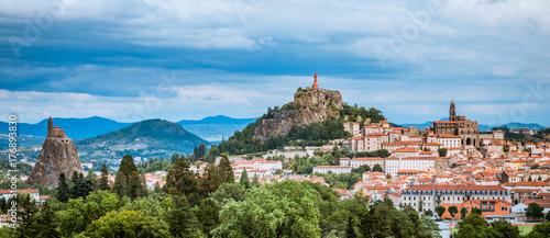 Poster Panoramafoto s Panorama sur Le Puy-en-Velay depuis Espaly Saint-Marcel