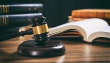 Judge Gavel On A Wooden Desk, ...
