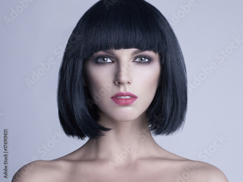 Acrylic Prints womenART Beautiful woman with bob haircut