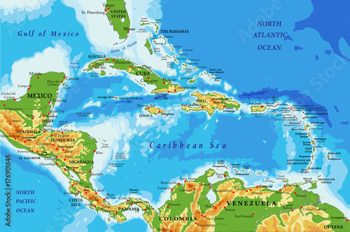 Central America and Caribbean Islands physical map – kaufen Sie ...