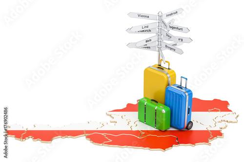 Plakat Koncepcja podróży w Austrii. Austriacka mapa z walizkami i kierunkowskazem, 3D rendering