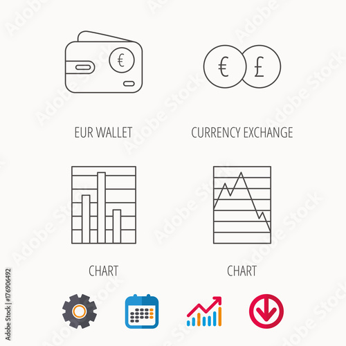 Currency Exchange Chart And Euro Wallet Icons