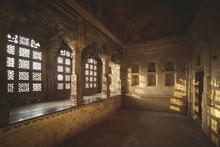 Sunlight Through Ornate Windows In Jahangir Mahal, India