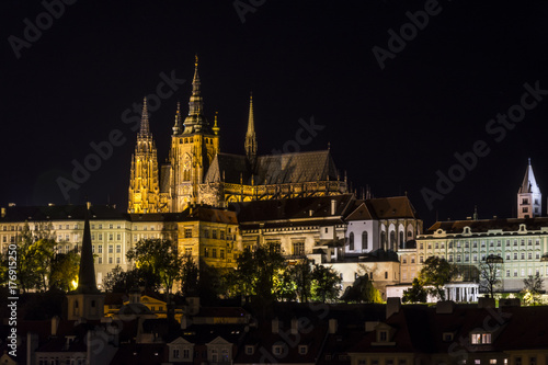Poster Prague Prague castle complex with st Vitus cathedral at night. Traditional view on the Prague castle illuminated by lights.Prague. Hradcany. Czech Republic