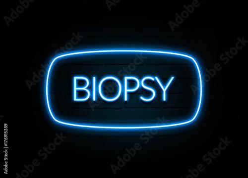 Valokuva  Biopsy  - colorful Neon Sign on brickwall