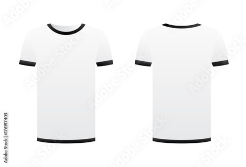 White T Shirt Template Black Ribbons Isolated On White Background