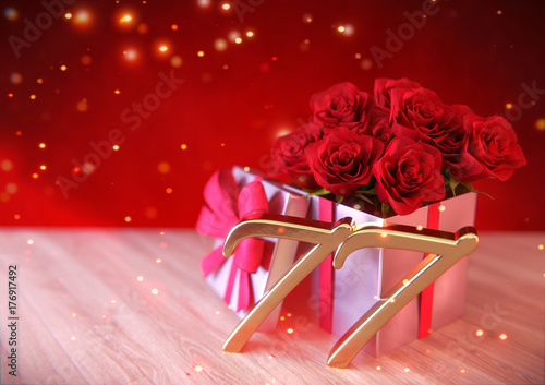 Fotografie, Obraz  birthday concept with red roses in gift on wooden desk