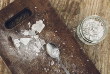 White Crystals Of Rock Sugar On The Table