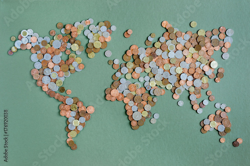 Overhead view of world map made up of coins - Buy this stock ... on made up topographic maps, made up flags, made up gifts, made up toys, made up characters, made up games, made up photography, made up solar system, made up physical maps, made up country maps, made up military,