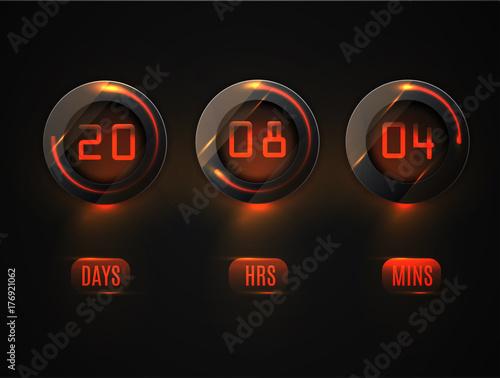 Glass Counter Timer. Countdown website vector template digital clock ...