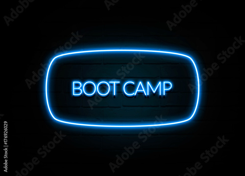 Fotografie, Obraz  Boot Camp  - colorful Neon Sign on brickwall