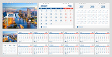 Calendar 2018 Week Start On Monday Corporate Business Luxury Design Layout Template With Blue Ribbon And Whit Line Frame Vector. Sample Image With Gradient Mesh.