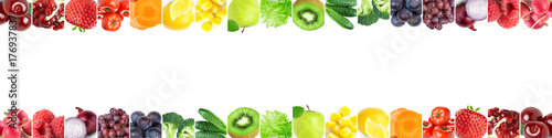 Collage of color fruits and vegetables © seralex