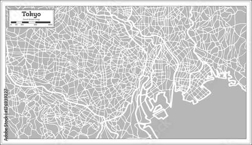 Tokyo Map in Retro Style. Hand Drawn. Canvas Print
